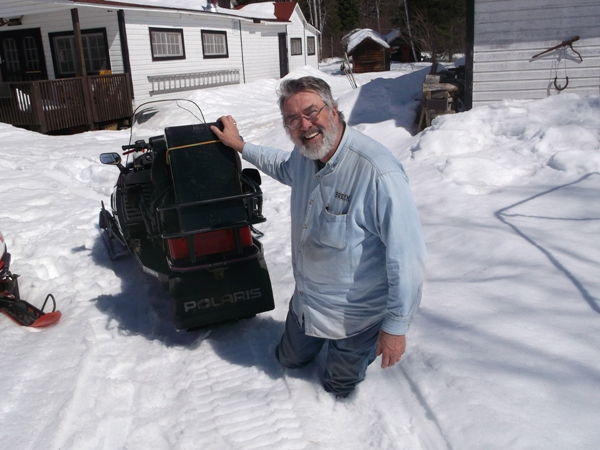 April 10, 2014 Dick Lewis knee deep in slush
