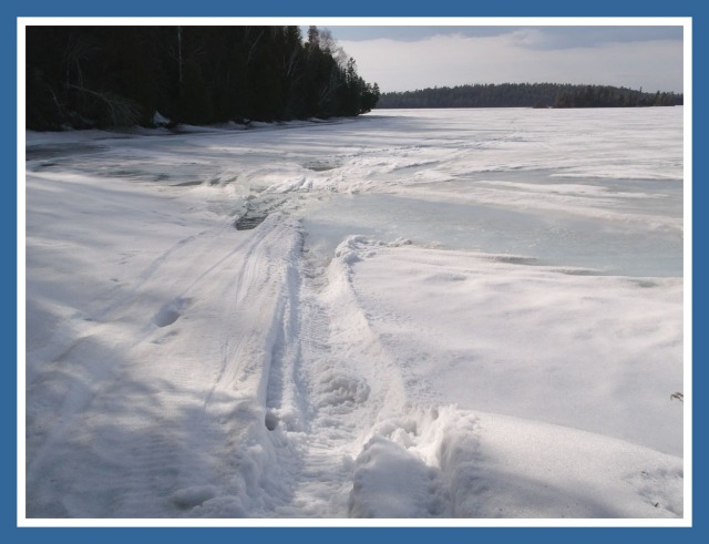"""""""Last trip home, snowmobile is on the dock, now we wait for open water"""""""