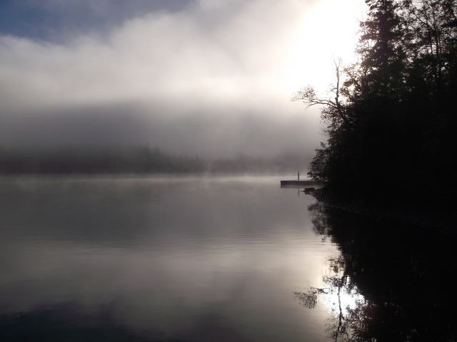 Lewis dock in fog