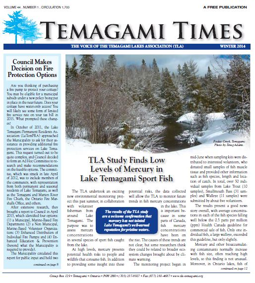 Temagami Times Winter 2014 cover